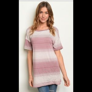 ❤️2 for $40 long mauve striped top